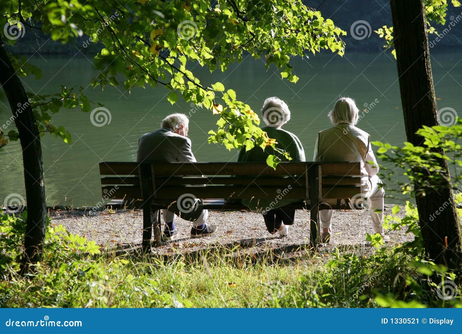 Seniors on a park bench