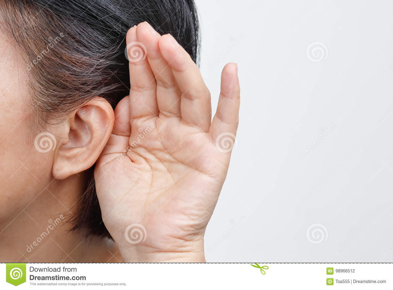 Seniors woman hearing loss , Hard of hearing