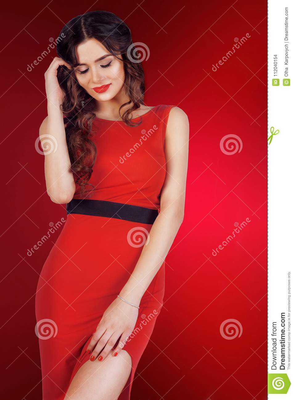 Portrait Close Up Of Young Beautiful Brunette Woman Stock