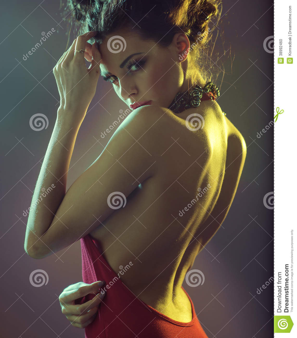 Download Sensual Brunette Woman Clothed Red Dress Stock Photo - Image of girl, dress: 38992460
