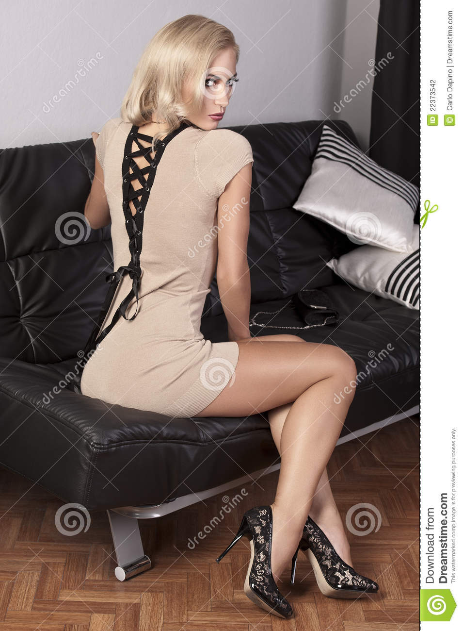 Sensual Girl Sitting On A Black Leather Sofa Stock Photography Image 22373542