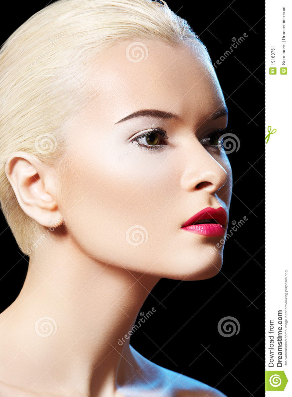 Sensual model woman with fashion berry lips makeup