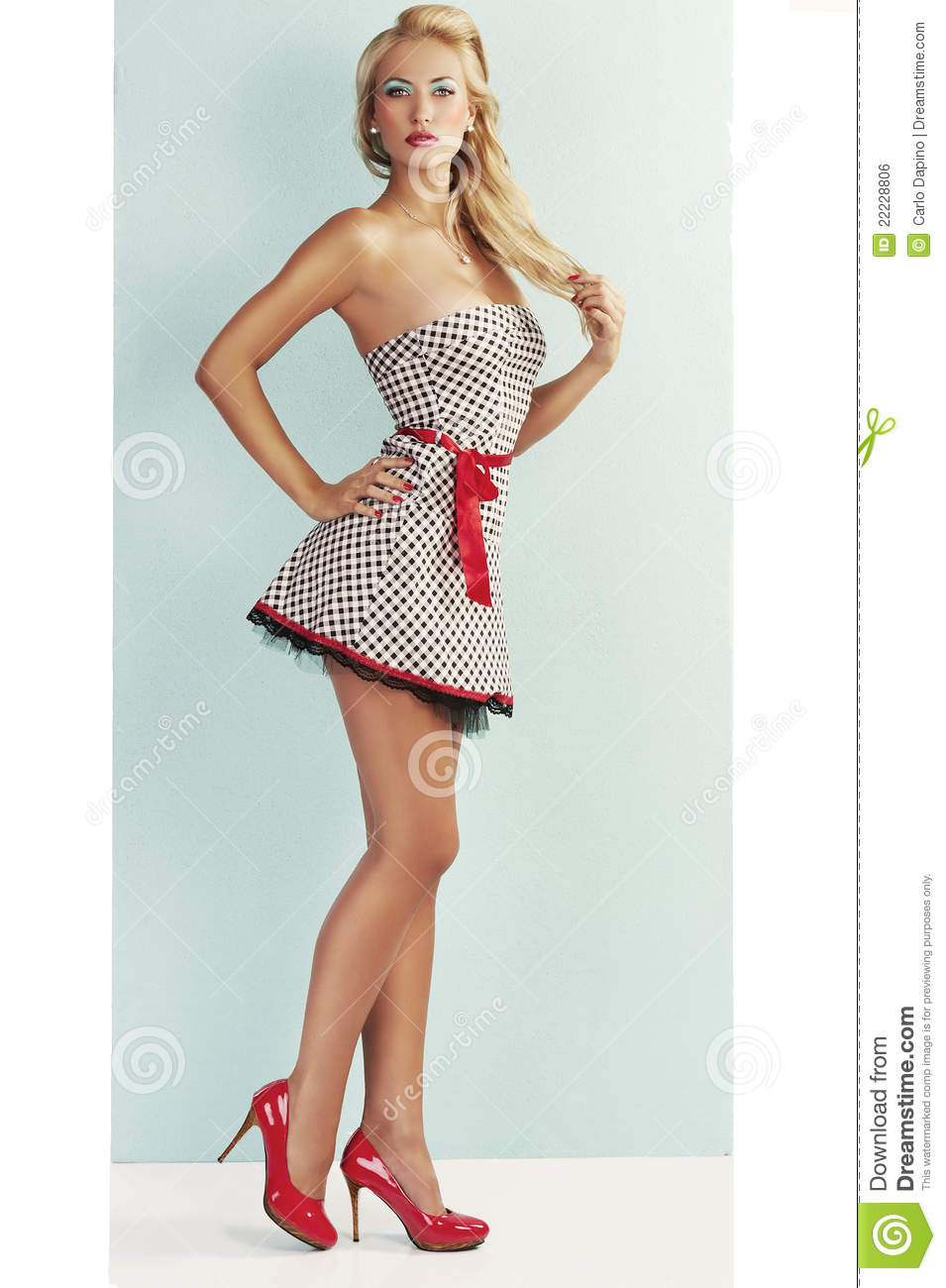 sensual pin up with red shoes stock photo image 22228806. Black Bedroom Furniture Sets. Home Design Ideas