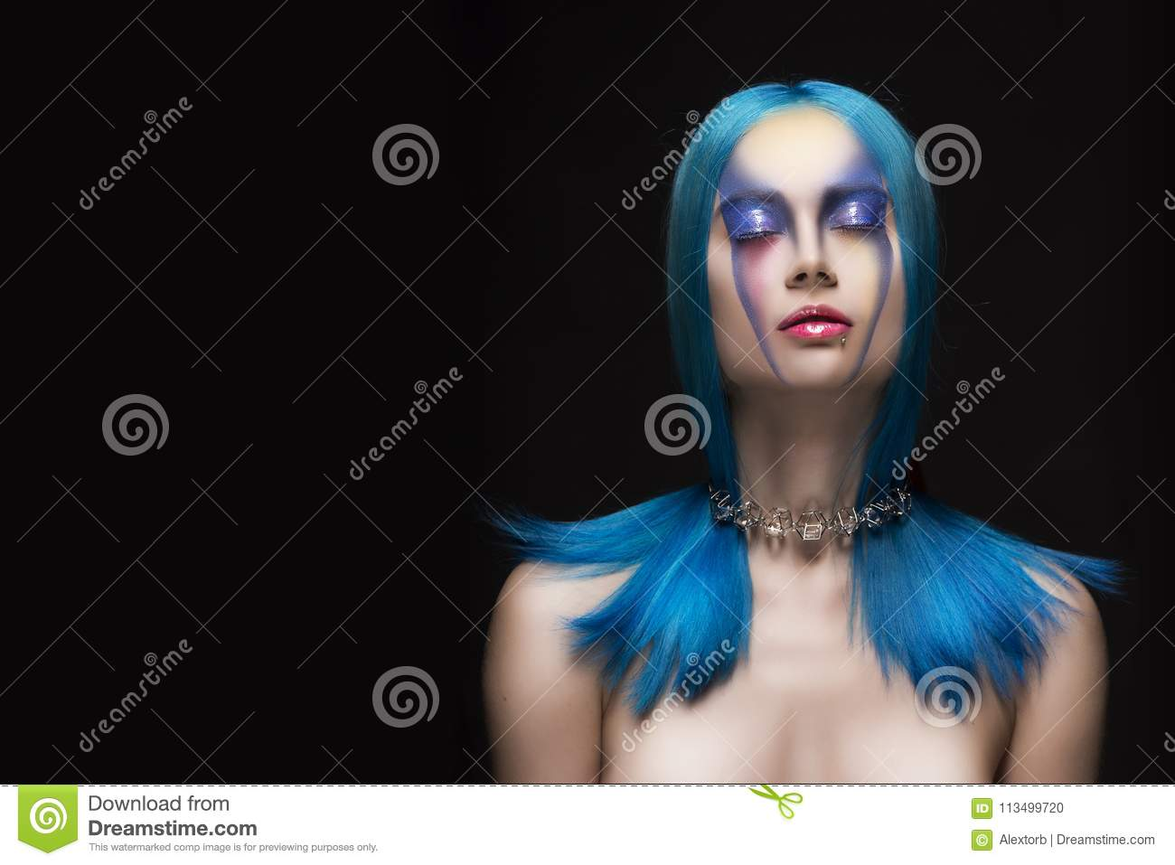 Sensual portrait of beautiful dyed blue hair naked shoulders closed eyes girl wearing necklace. Vanguard fashion make-up.