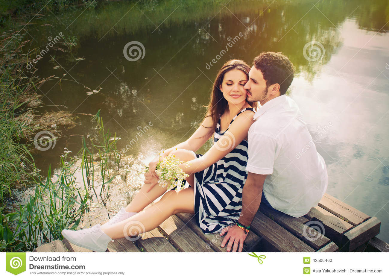 senual couples sensual romantic couple in love on pier at the lake in 1817