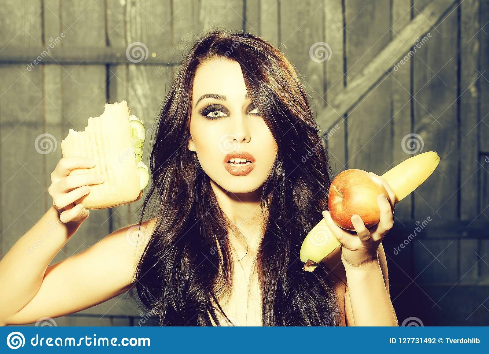 Girl and food stock photo. Image of healthy, beauty - 127731492