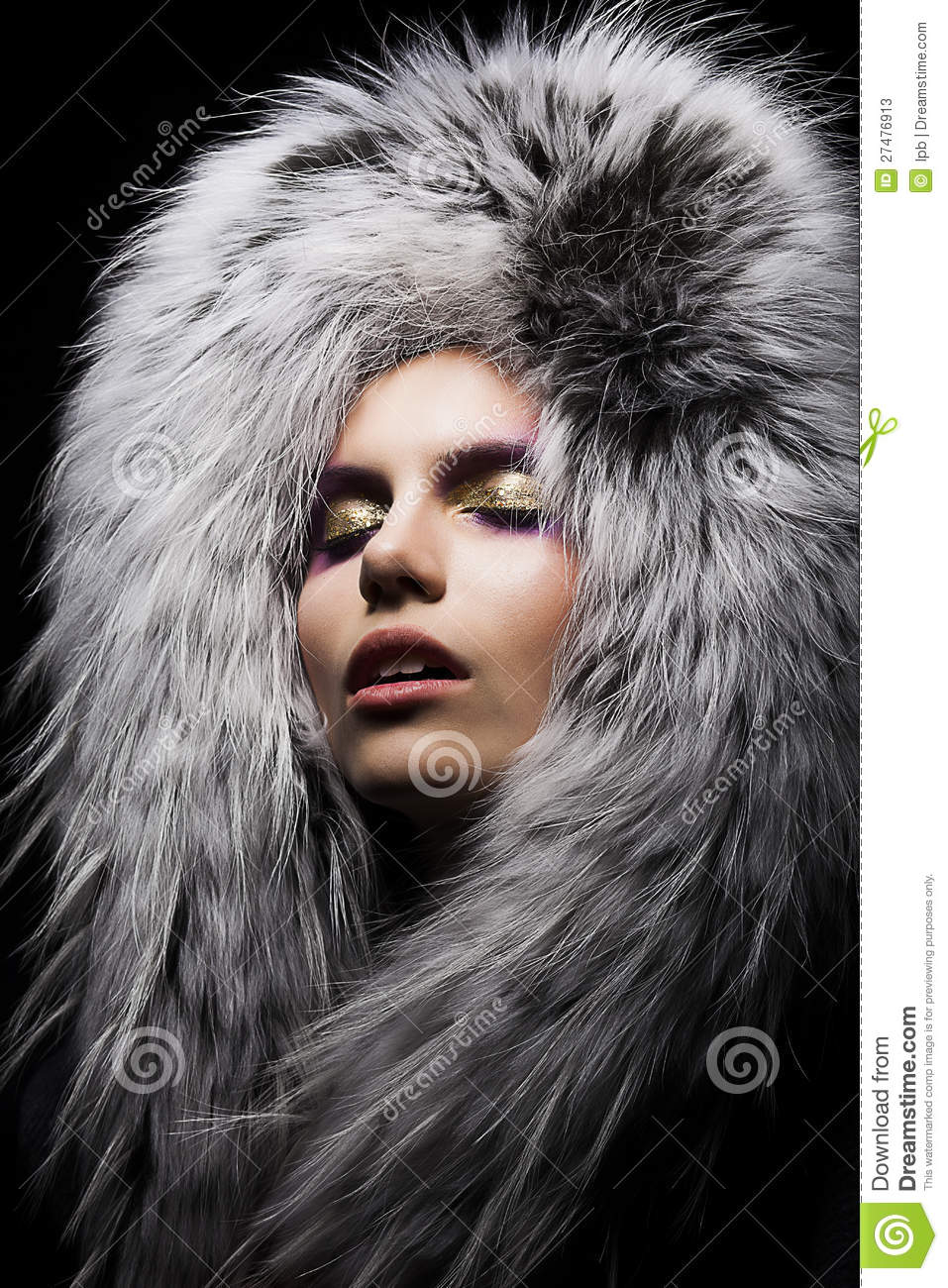 Sensual Woman In Fur Fashion Collar Stock Image - Image ... Stylish Cool Girl With Hat