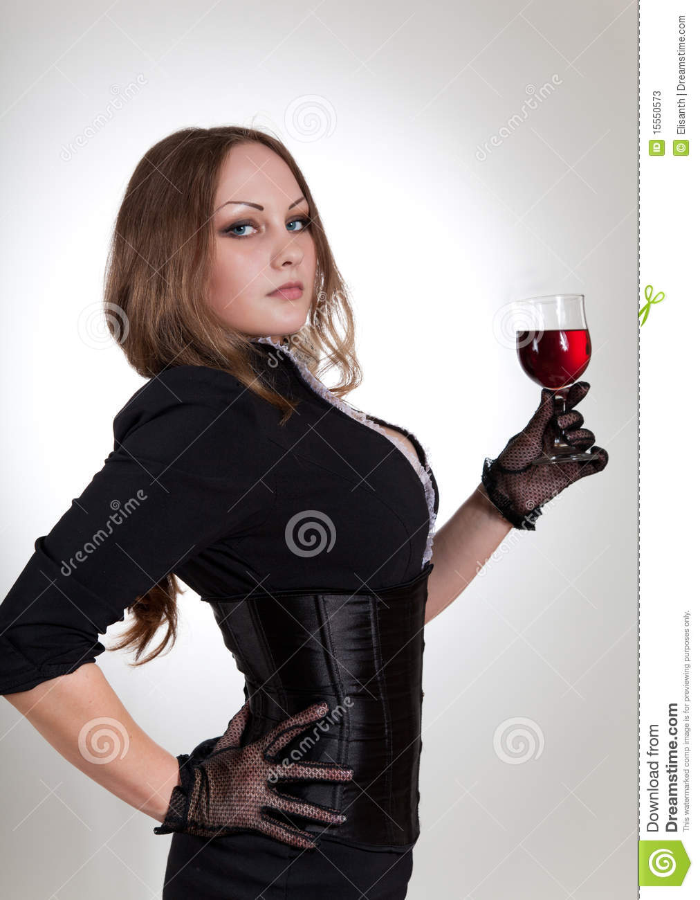 Sensual Woman Holding Glass Of Wine Stock Image - Image of ...