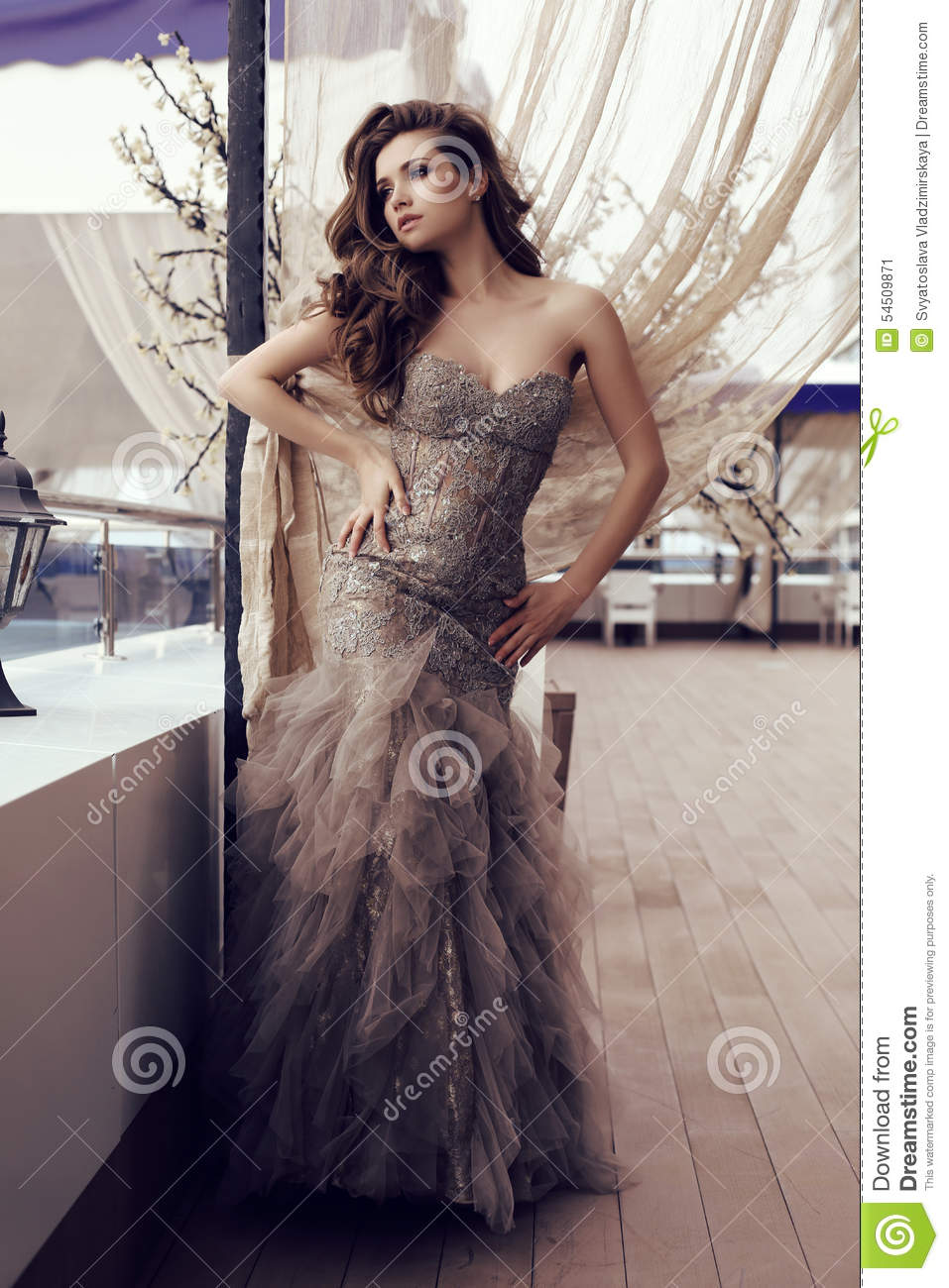 Sensual Woman With Long Dark Hair In Luxurious Sequin