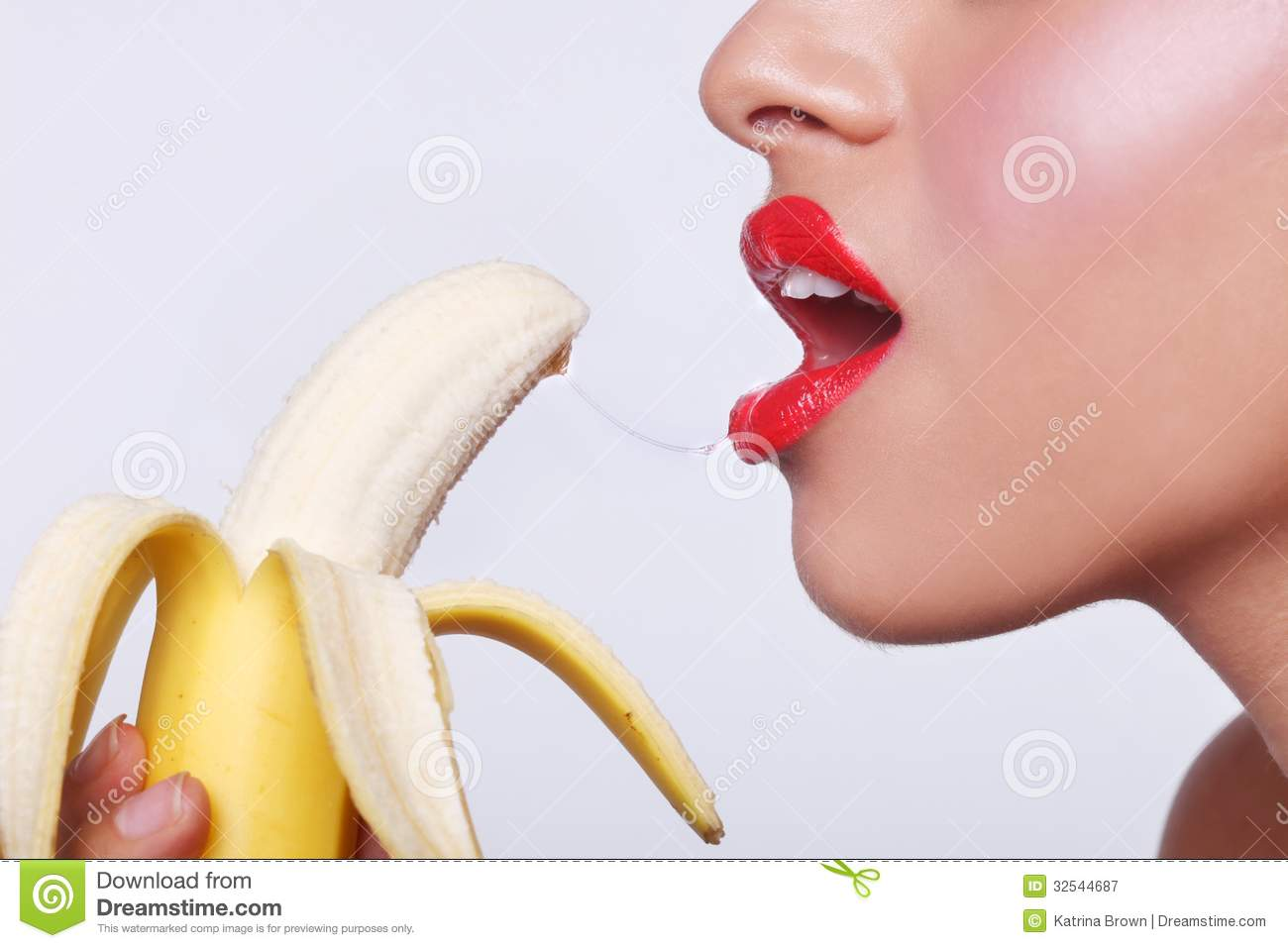 Sensual Woman Preparing To Eat A Banana Royalty Free Stock Photography ...