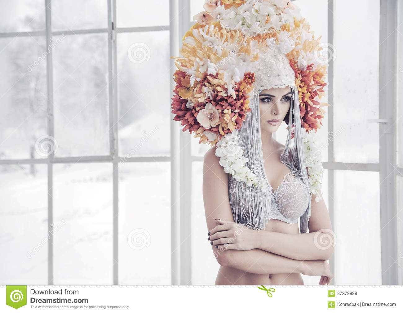 Sensual young nymph wearing a huge flower crown stock photo image download sensual young nymph wearing a huge flower crown stock photo image of beauty izmirmasajfo