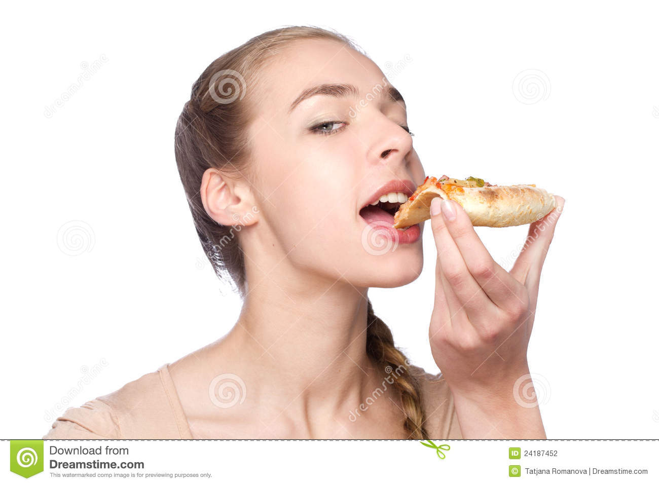 Sensual young woman eating