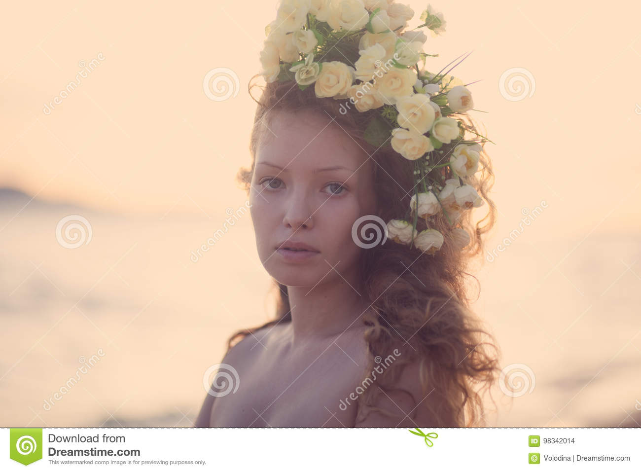 Sensuality Girl In A Flower Crown Stock Photo Image Of Dress