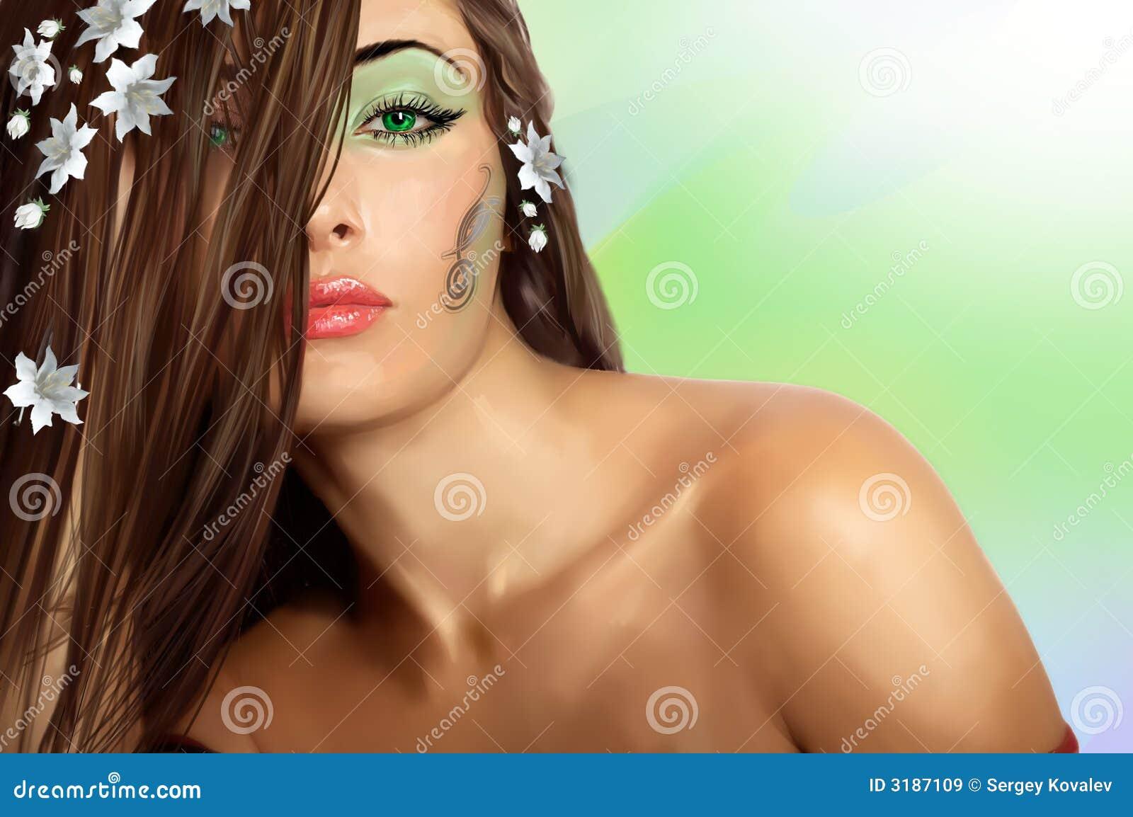 Sensuele dame met groene ogen