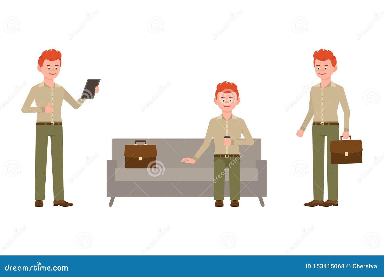 Sentándose en el sofá, café de consumición, usando la tableta, personaje de dibujos animados rojo permanente del muchacho del pel