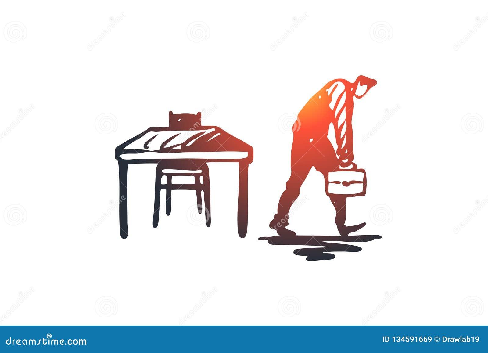 Sent arbete, chef, jobb, upptaget begrepp Hand dragen isolerad vektor