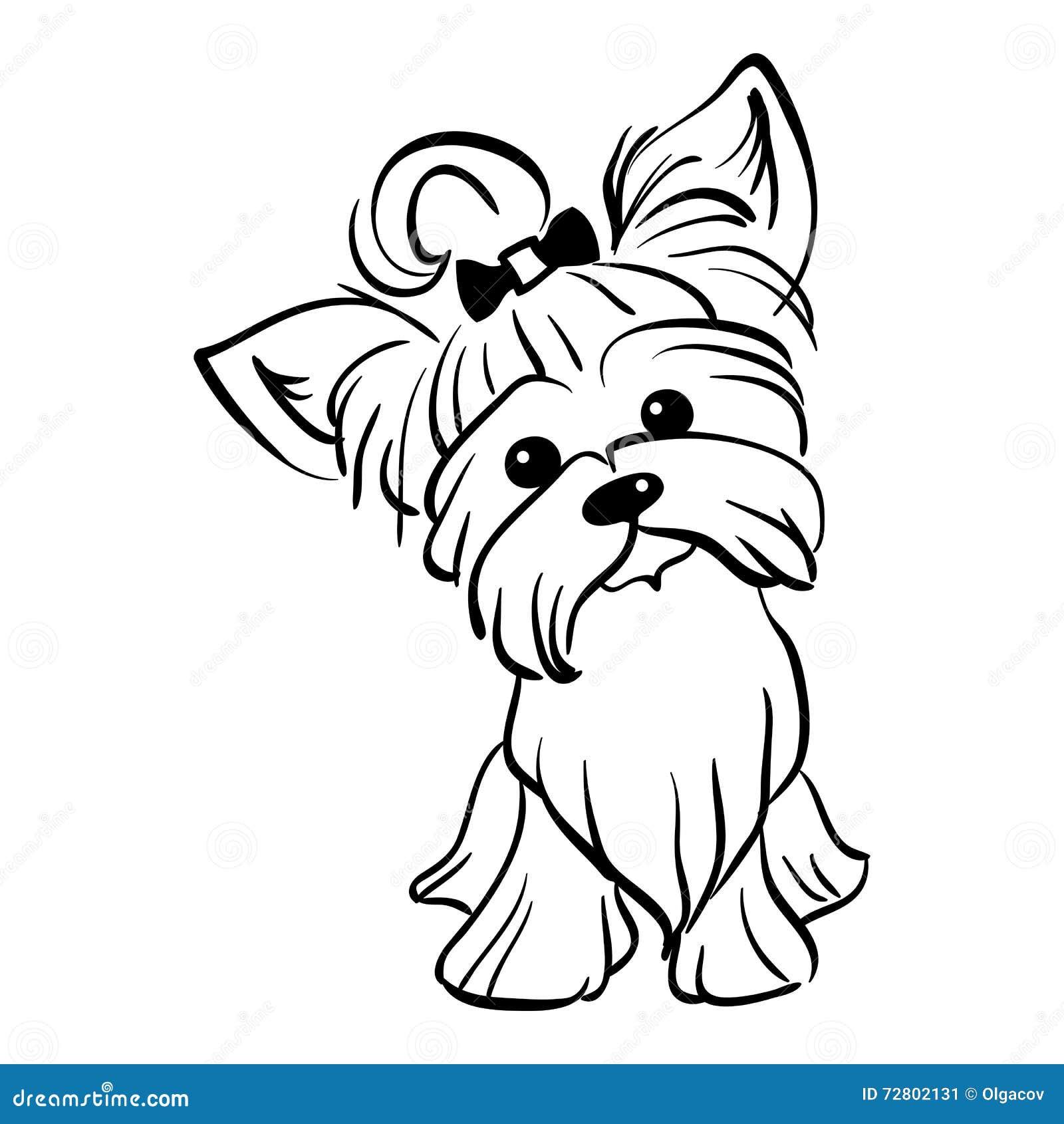 Sentada Divertida Del Perro Del Terrier De Yorkshire Del Bosquejo