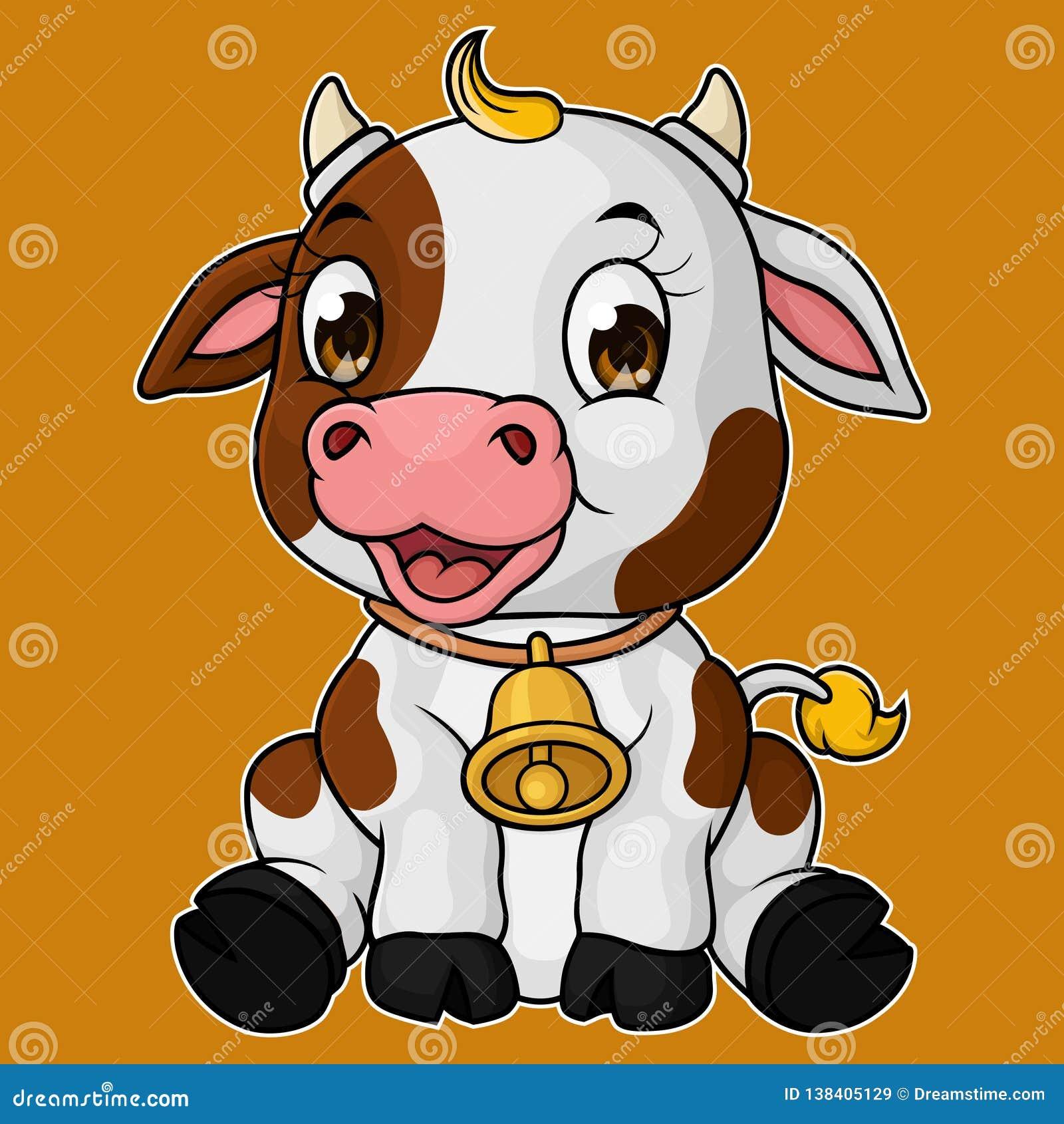 Sentada linda de la historieta de la vaca del bebé