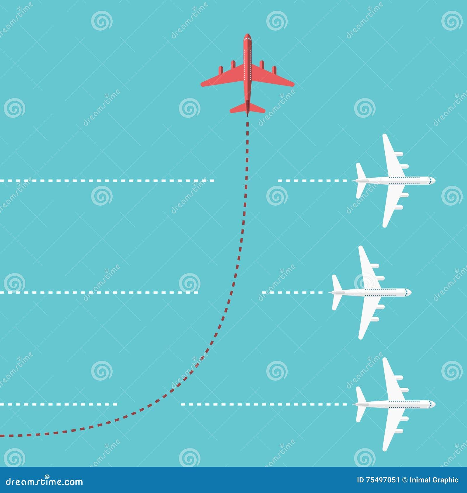 Sentido em mudança do avião vermelho
