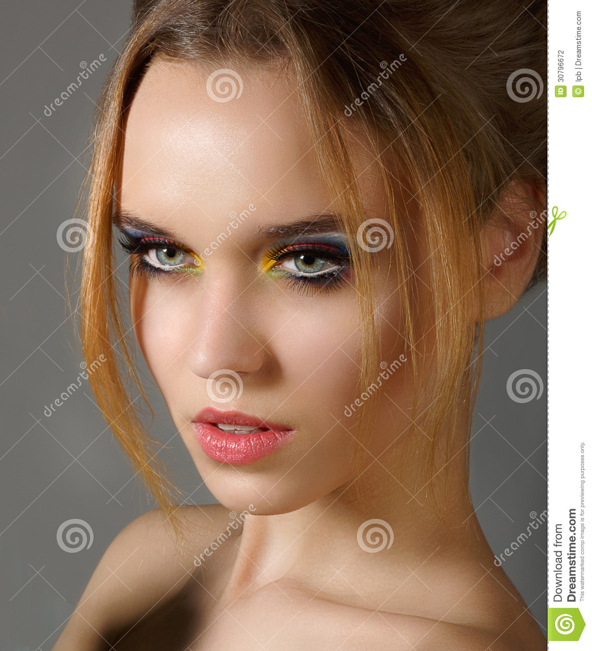 Sentiment. Profile of Independent Stylish Woman with Shiny Eye Makeup