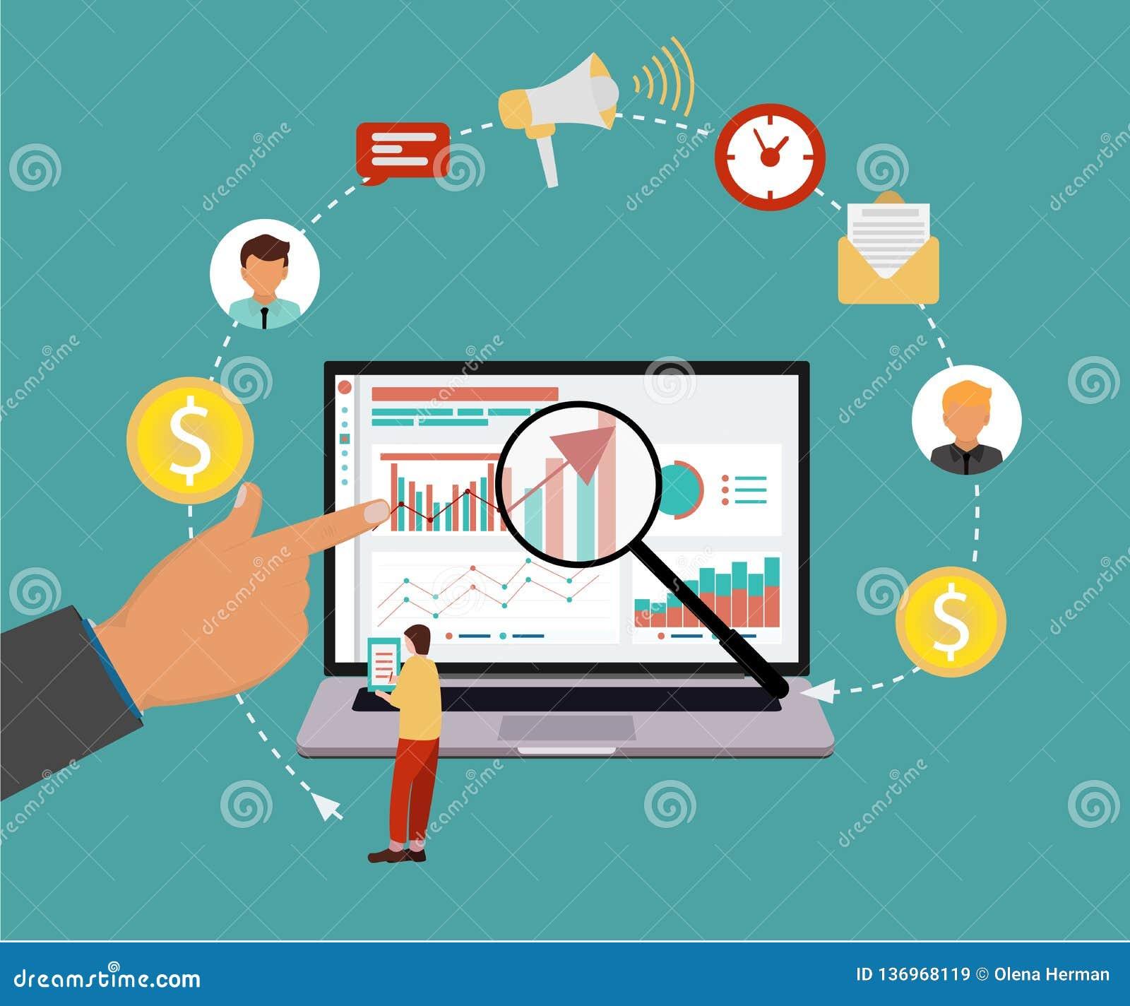 SEO网站和机动性的搜索引擎优化的现代平的设计观念 也corel凹道例证向量