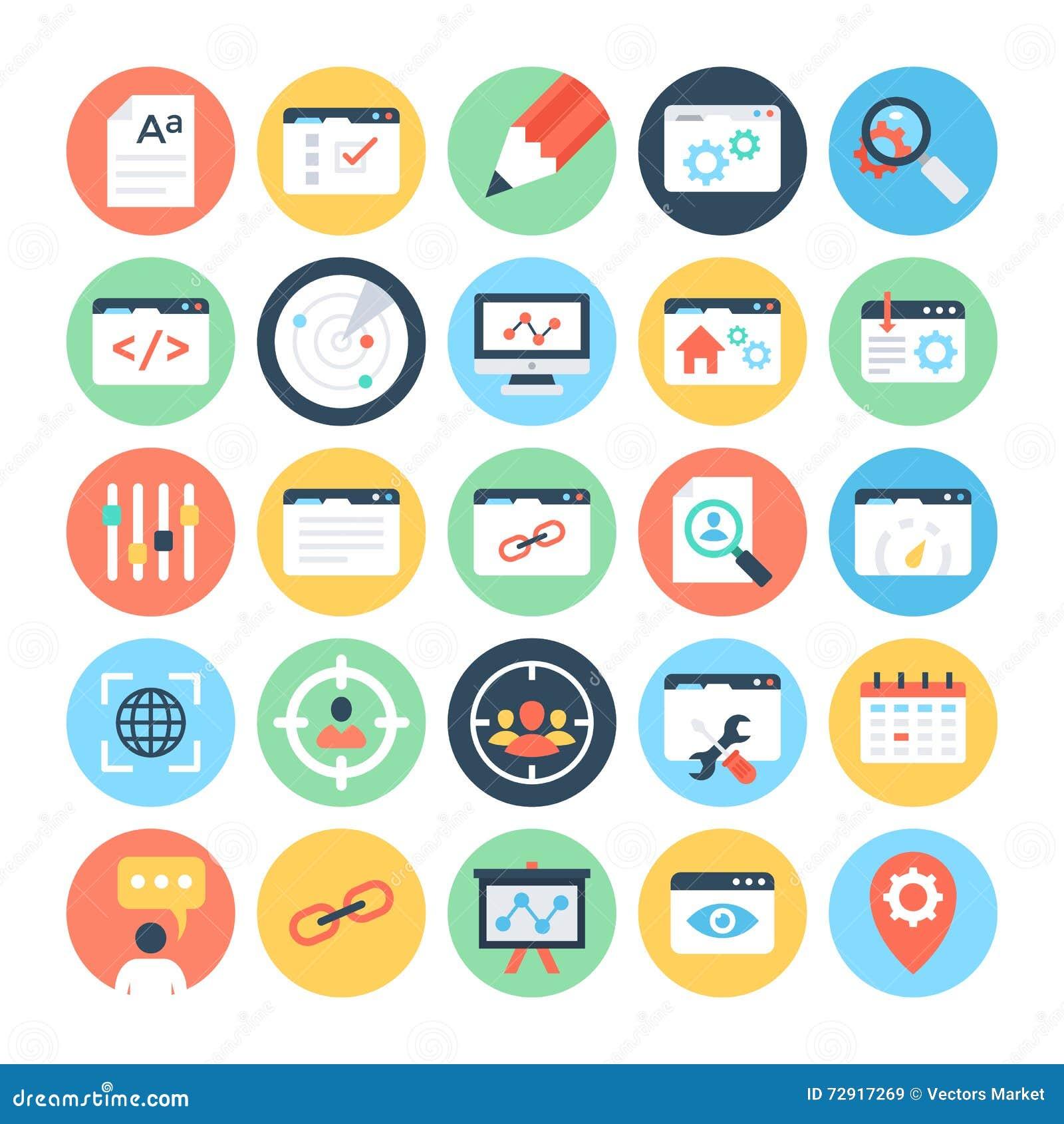 SEO и значки 3 вектора маркетинга