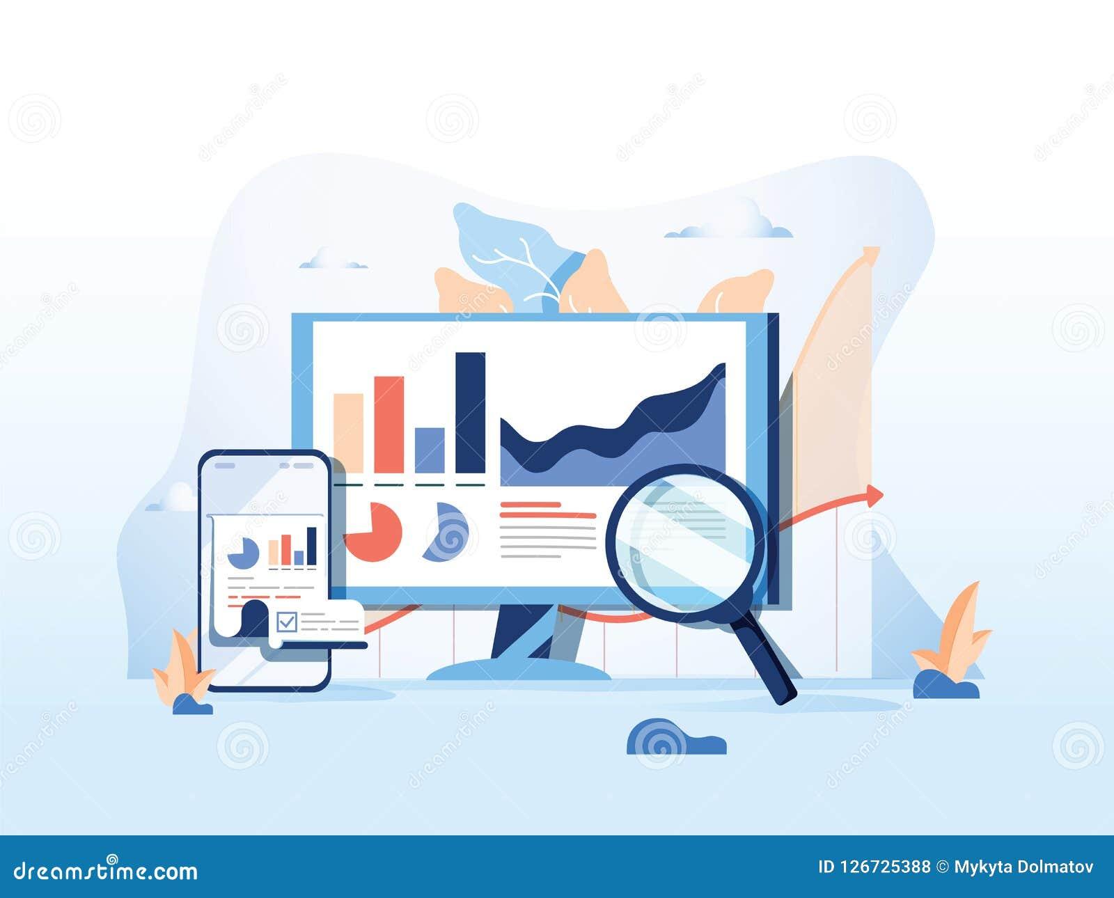 SEO-Bericht, Datenüberwachung, Netzverkehrsanalytik, flache Vektorillustration der großen Daten auf blauem Hintergrund