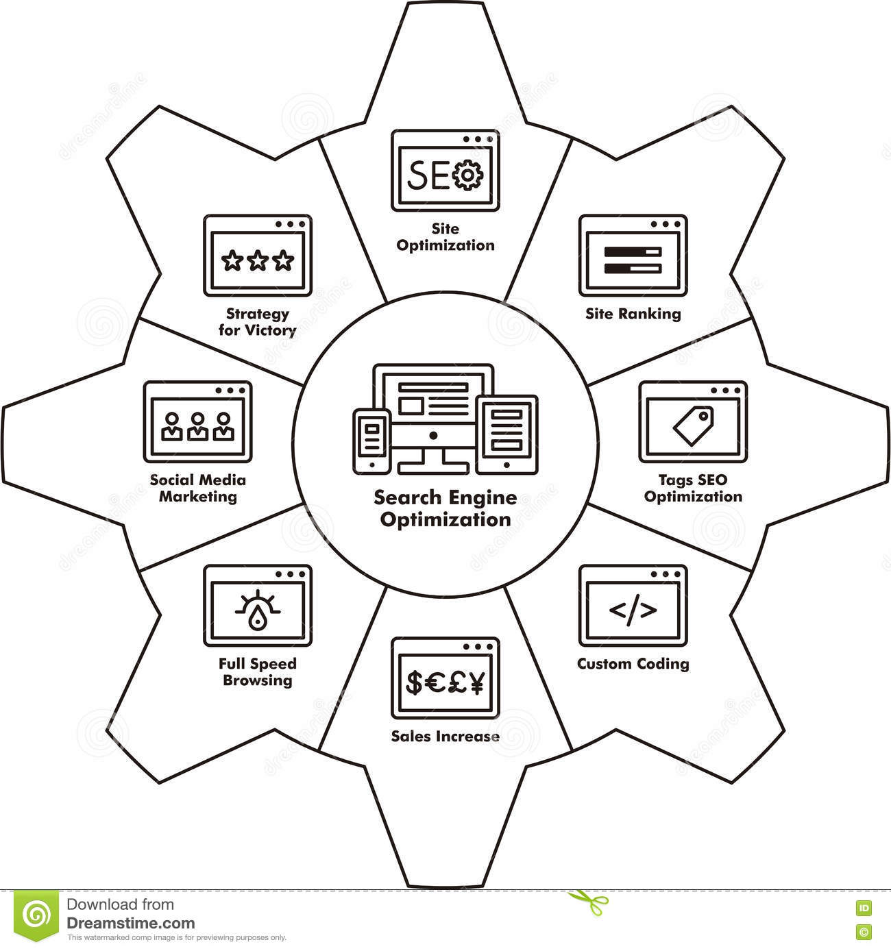 Seo Components Icon Stock Image Of Technological 77193401 Victory Engine Diagram Download