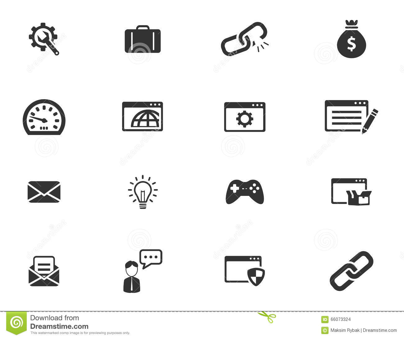 seo and development simply icons stock image