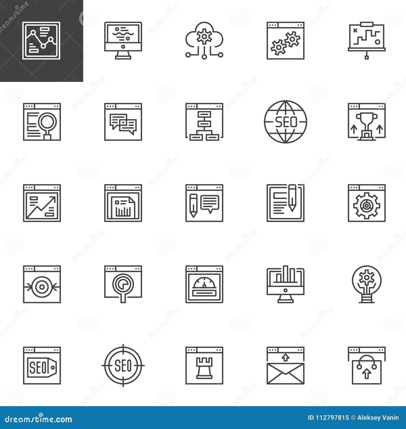 SEO e ícones em linha do esboço do mercado ajustados