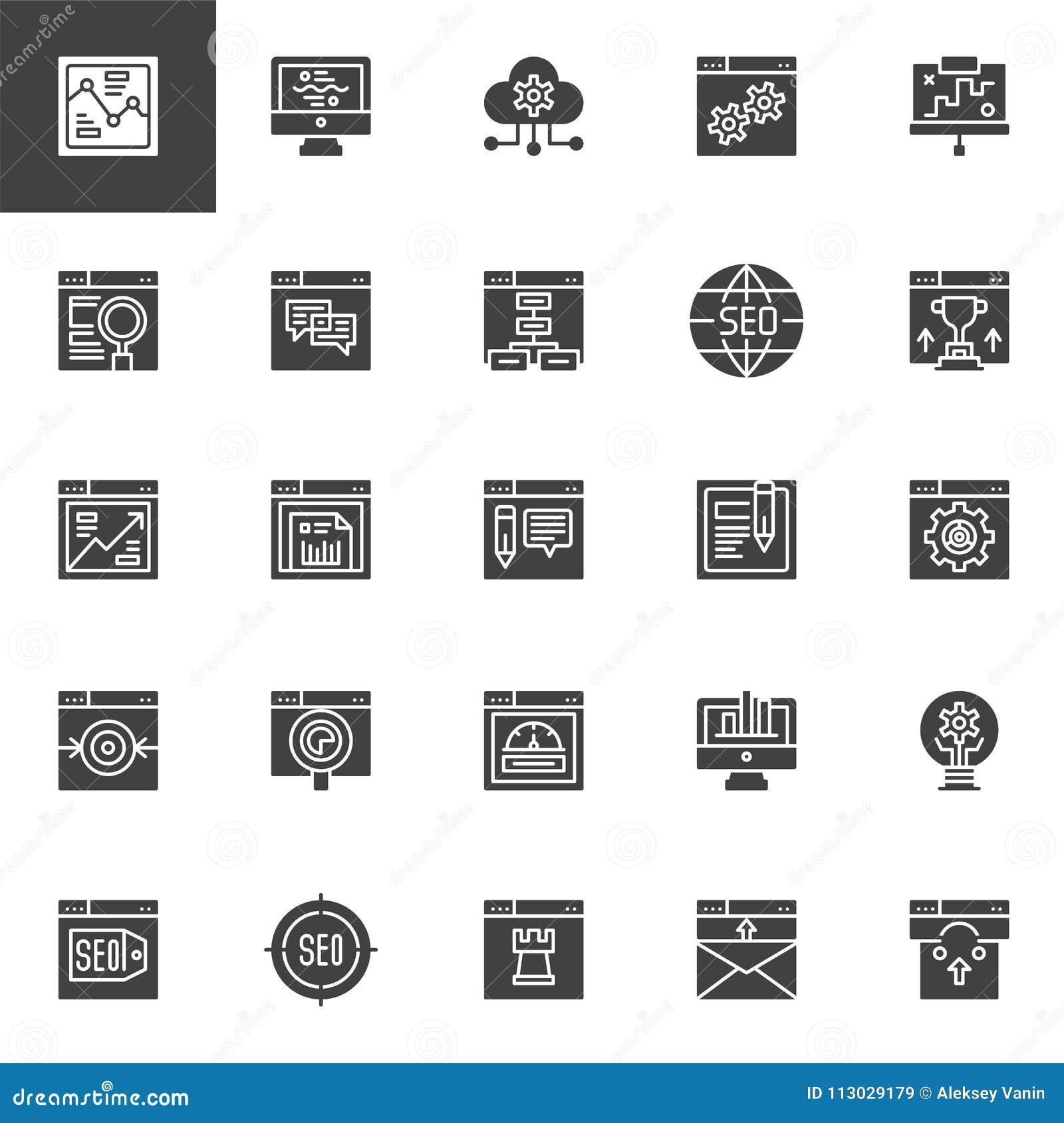 SEO e ícones em linha do vetor do mercado ajustados