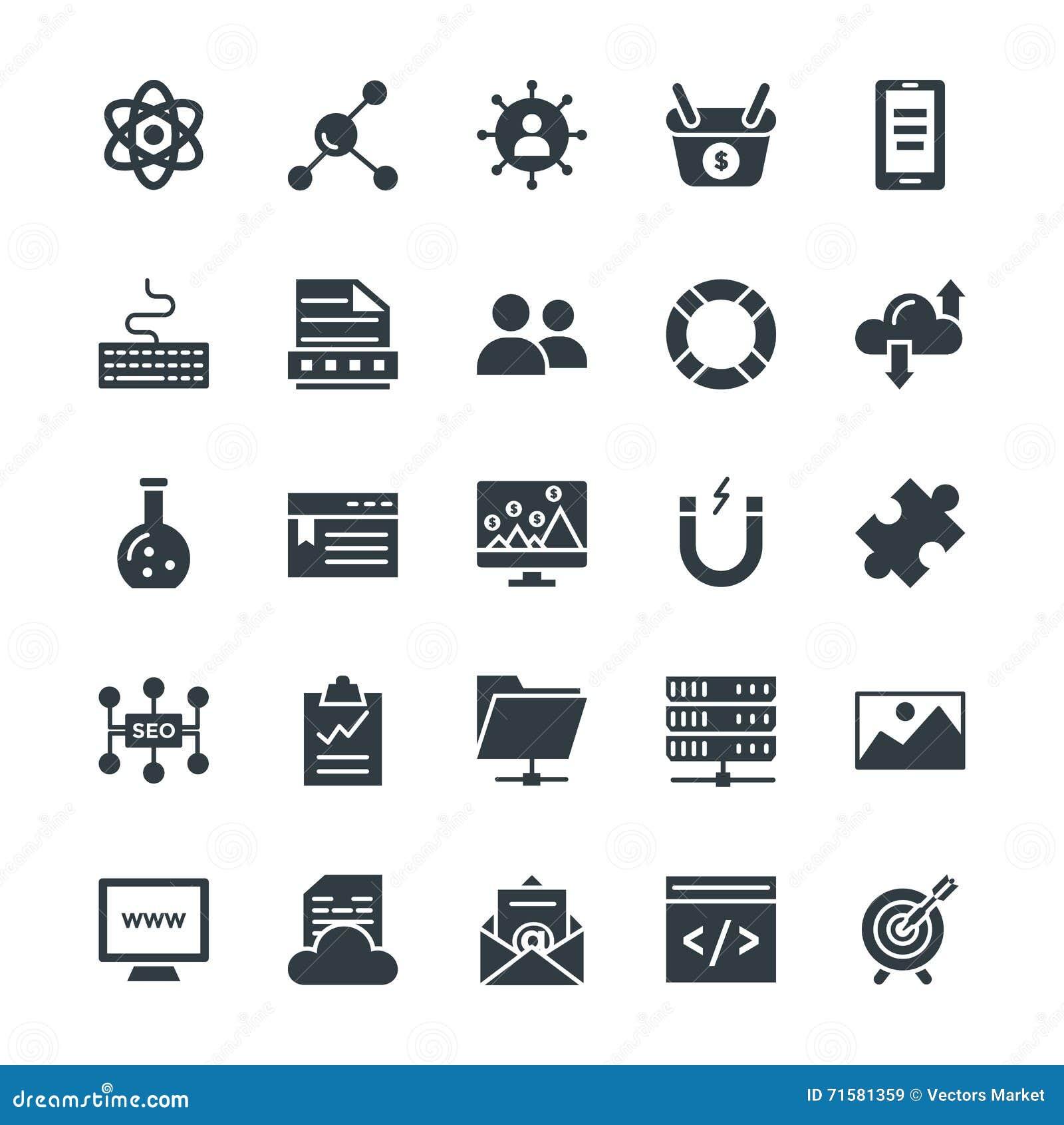 SEO e Internet que introduzem no mercado os ícones frescos 3 do vetor