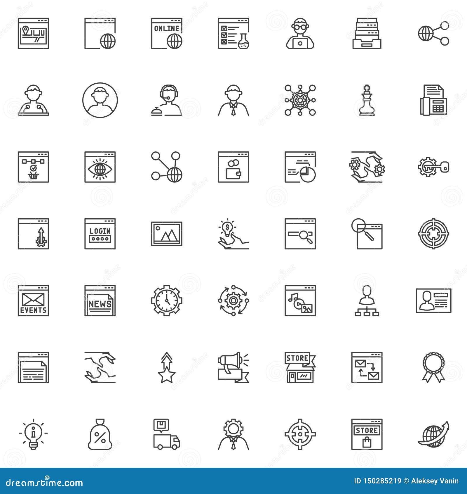 SEO e linha de serviço grupo do Internet dos ícones
