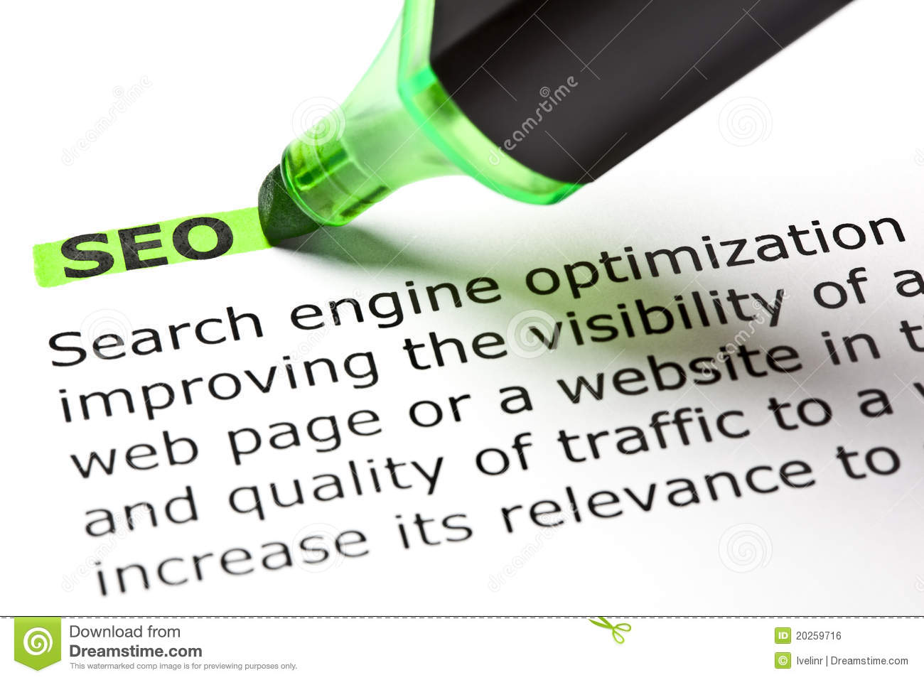SEO  highlighted in green