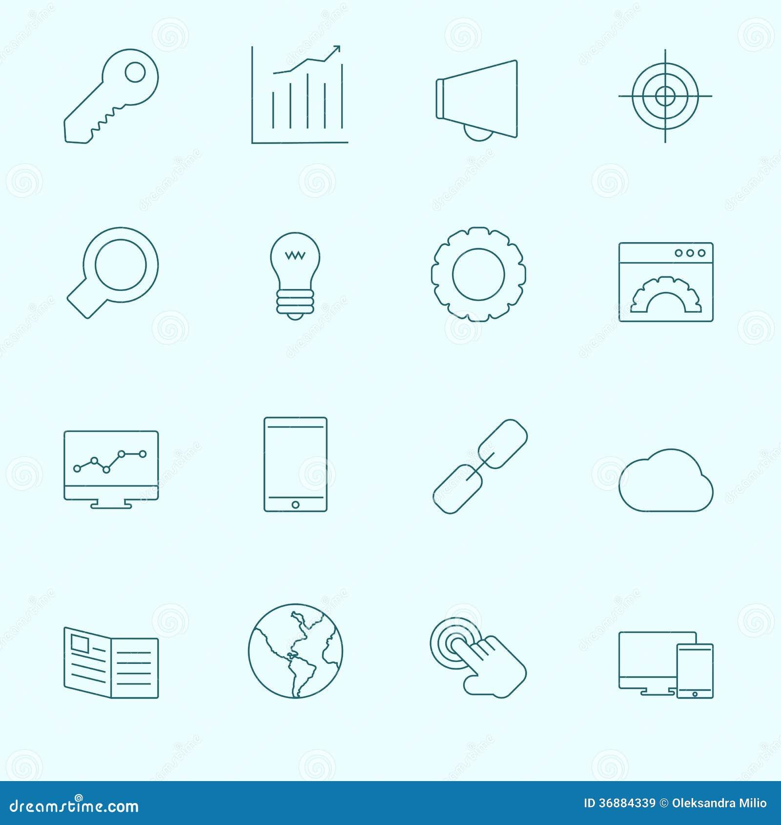 Download SEO Icons sottile illustrazione vettoriale. Illustrazione di modifiche - 36884339