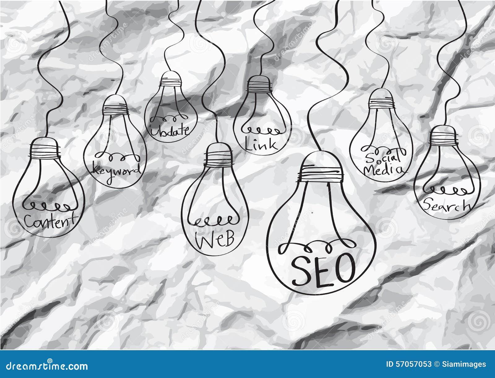 Seo Idea SEO Search Engine Optimization op verfrommeld document