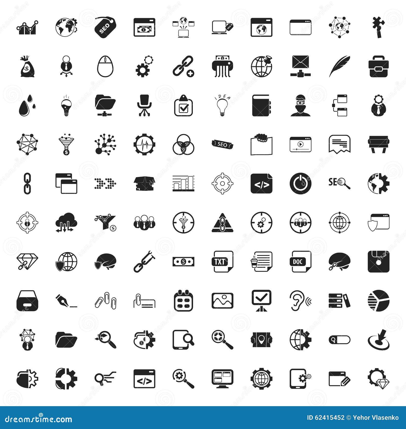 Seo 100 ikon ustawiających dla sieci