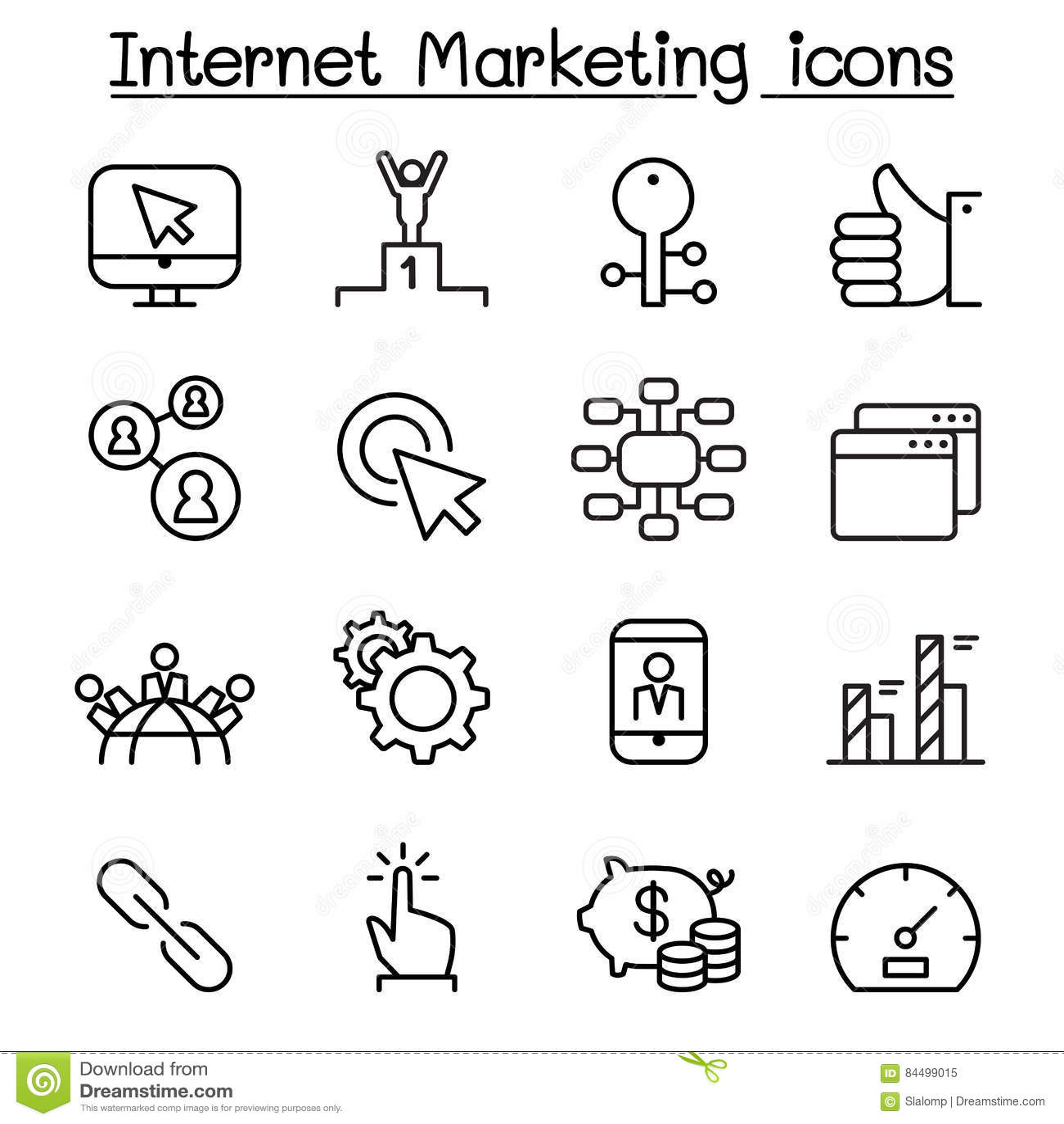 SEO & internet marketing icon set in thin line style