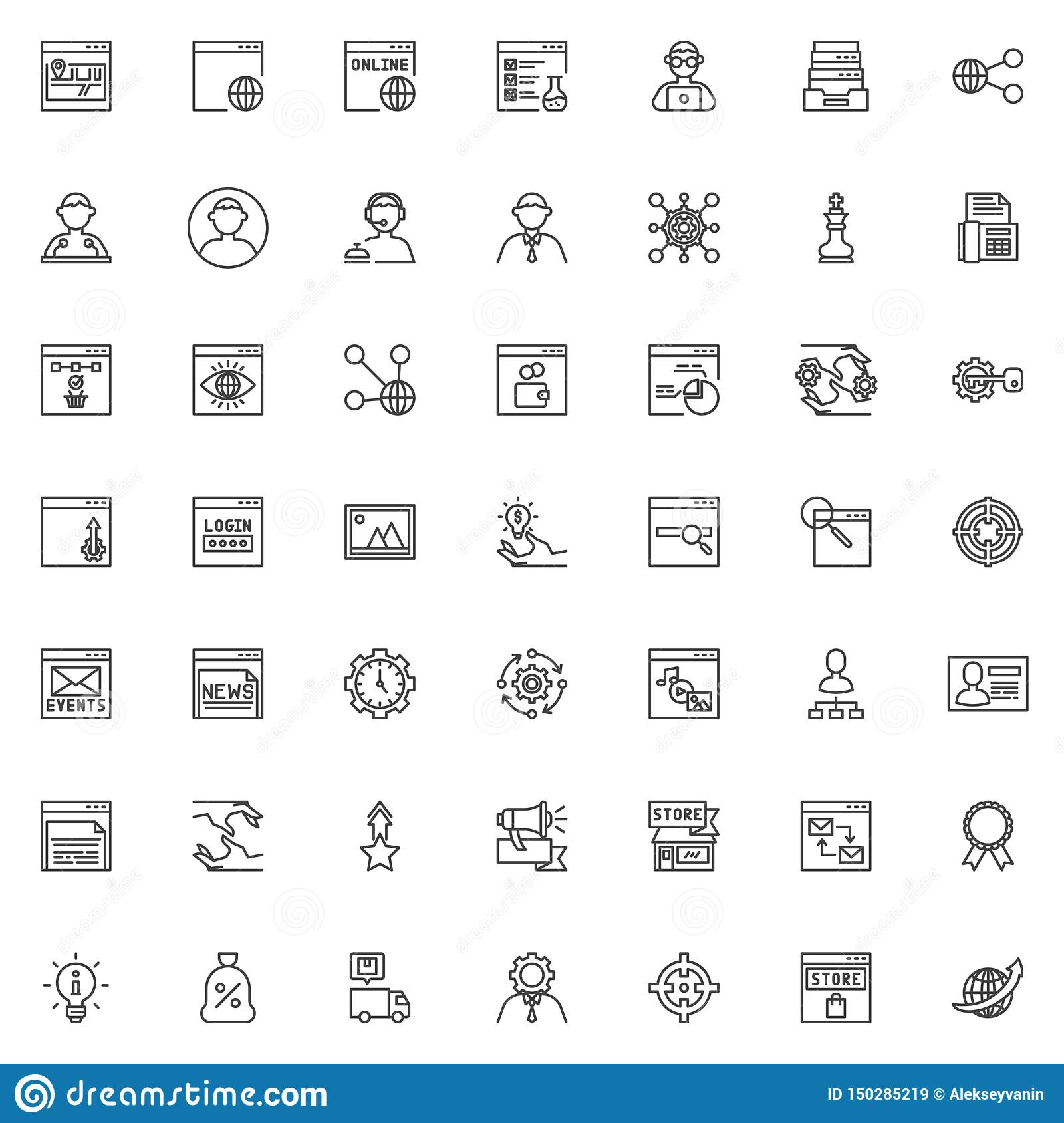 SEO and Internet service line icons set