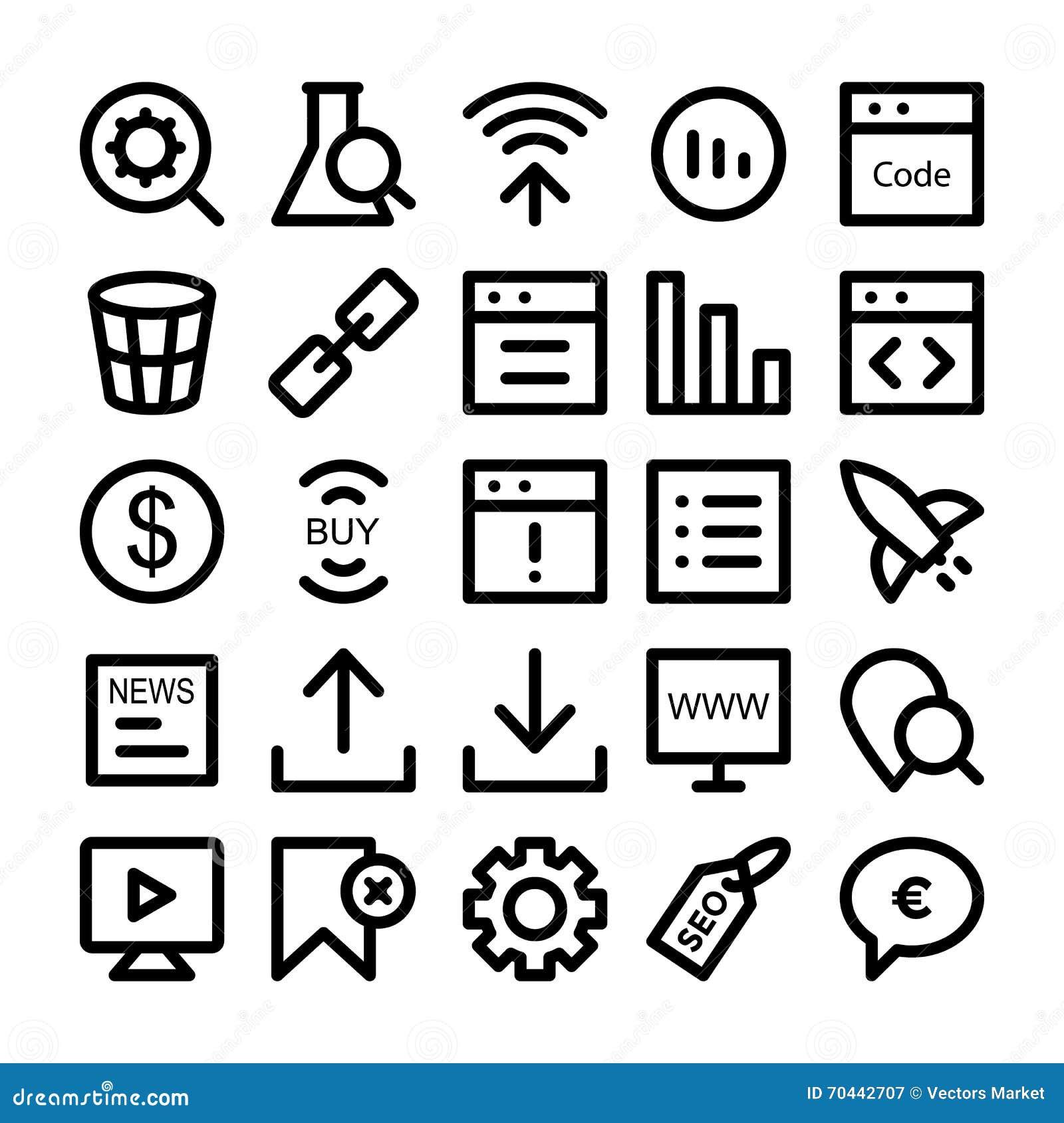 seo and marketing icons 5 stock illustration