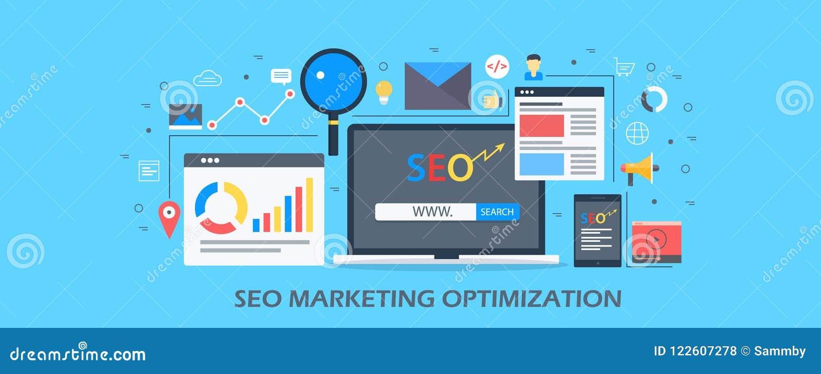 Seo marketing strony internetowej zawartość i analityki pojęcie - rewizja optymalizacja - Płaski projekta wektoru sztandar