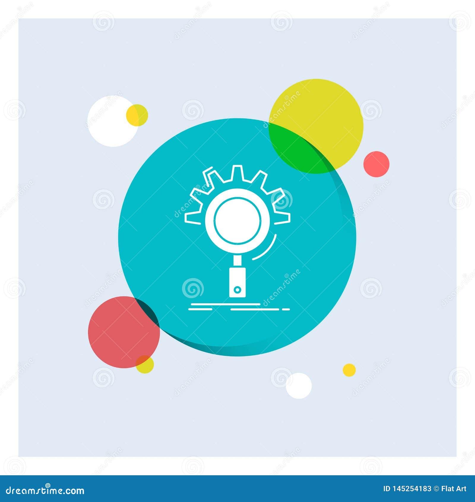 Seo, onderzoek, optimalisering, proces, het plaatsen Wit Glyph Pictogram kleurrijke Cirkelachtergrond