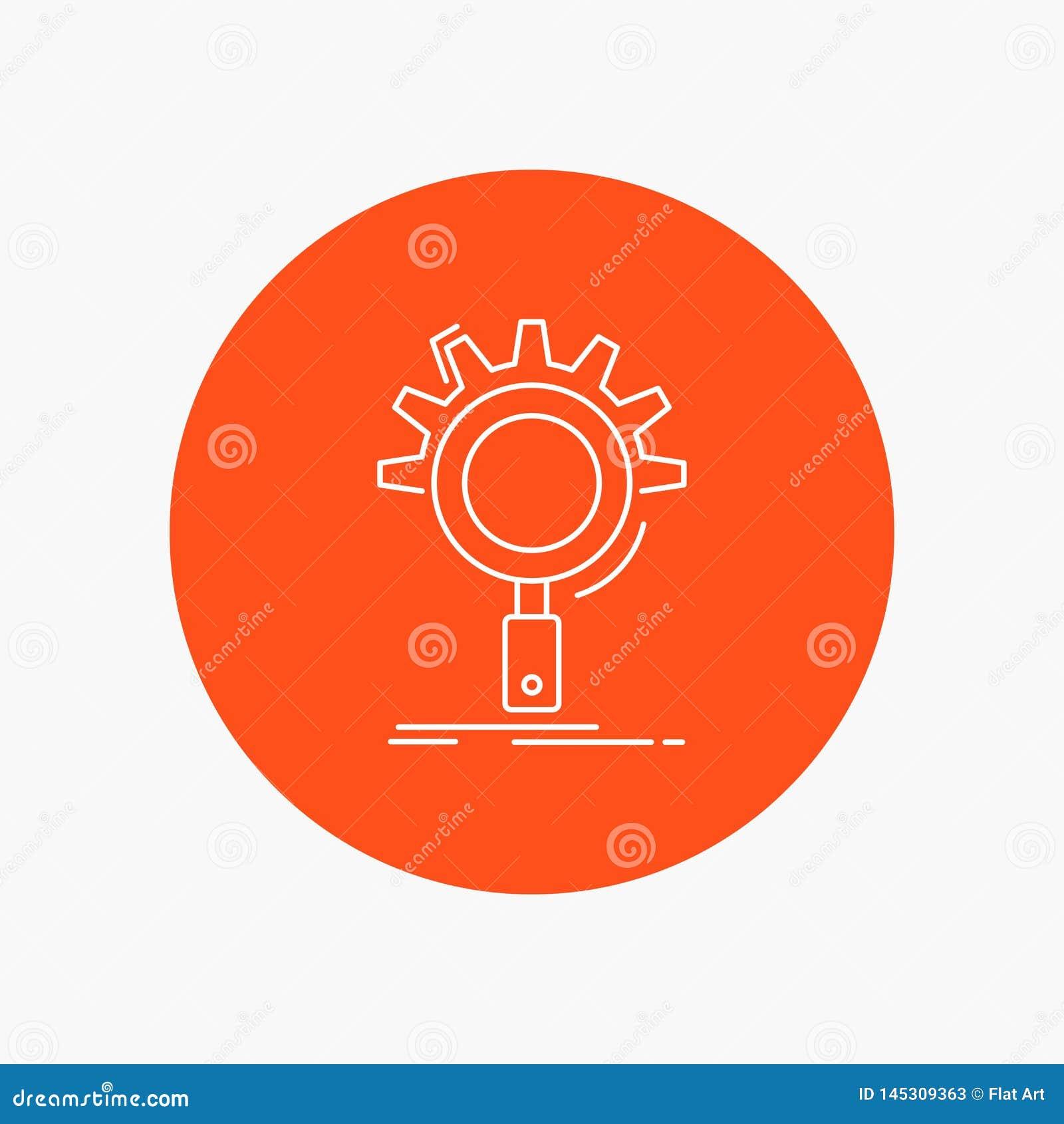 Seo, onderzoek, optimalisering, proces, het plaatsen Wit Lijnpictogram op Cirkelachtergrond Vectorpictogramillustratie