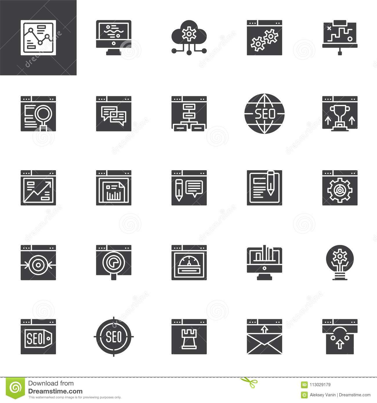 SEO and online marketing vector icons set