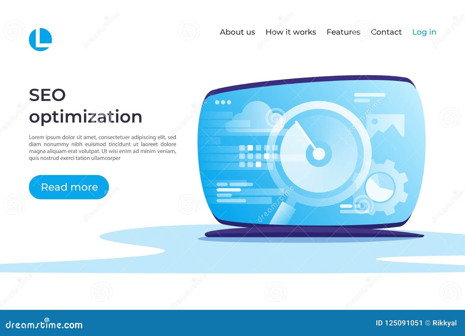 SEO-optimalisering, het vectorconcept van Webanalytics Landende pagina tem