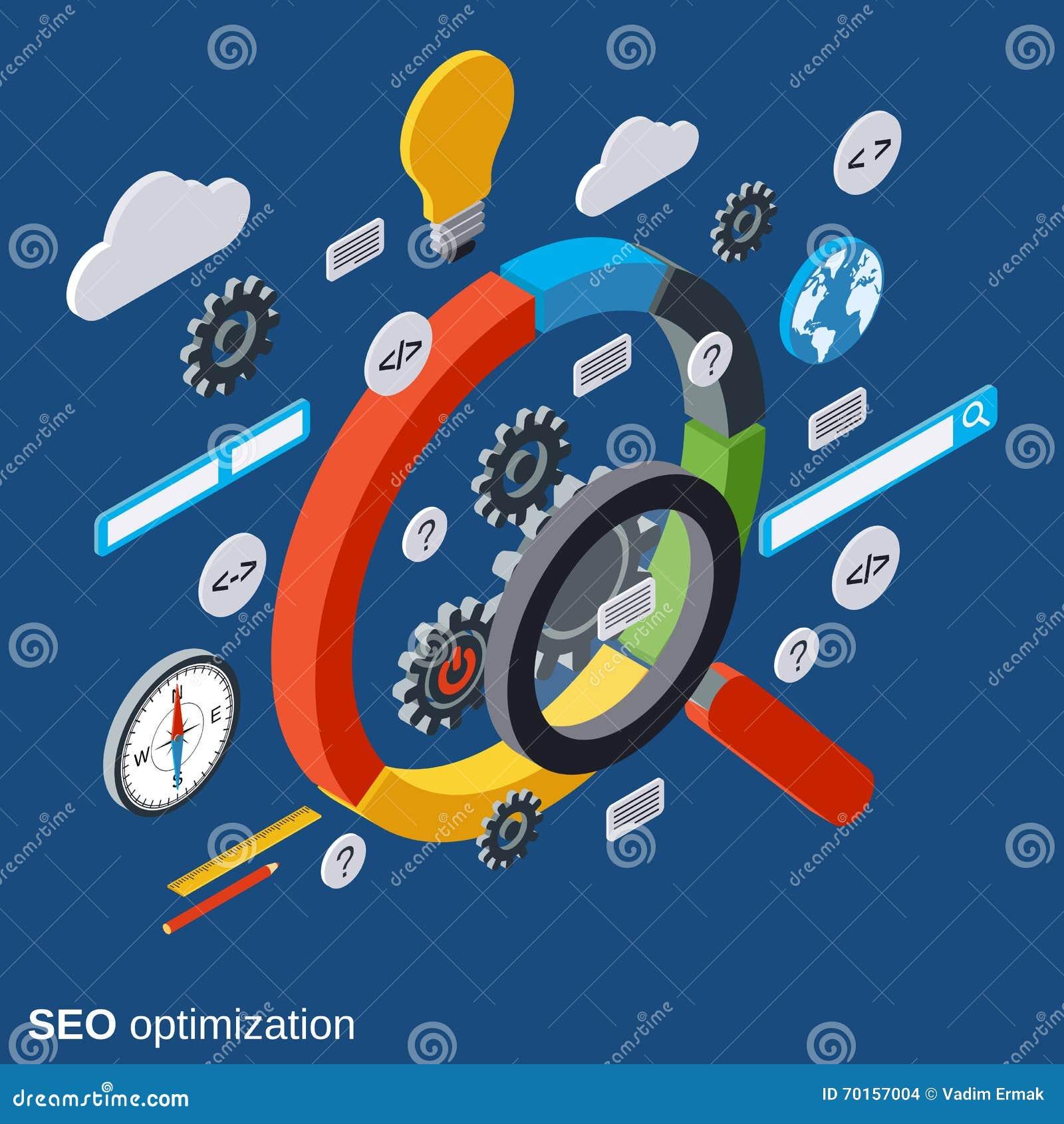 SEO-optimalisering, informatieonderzoek, het vectorconcept van de gegevensanalyse