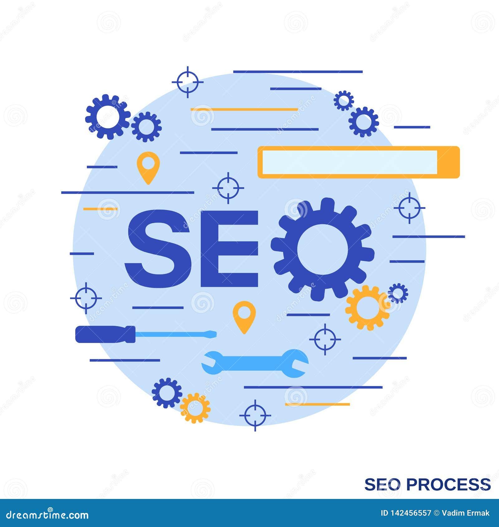 SEO-optimalisering, informatieverwerking, het vectorconcept van het Webonderzoek