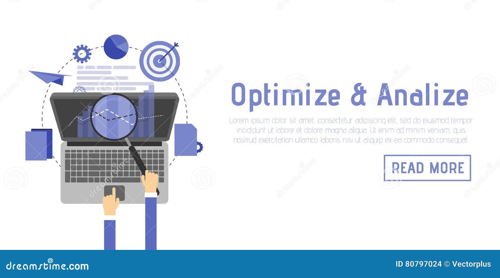 SEO-optimalisering, programmeringsproces en de elementen van Webanalytics in vlak ontwerp