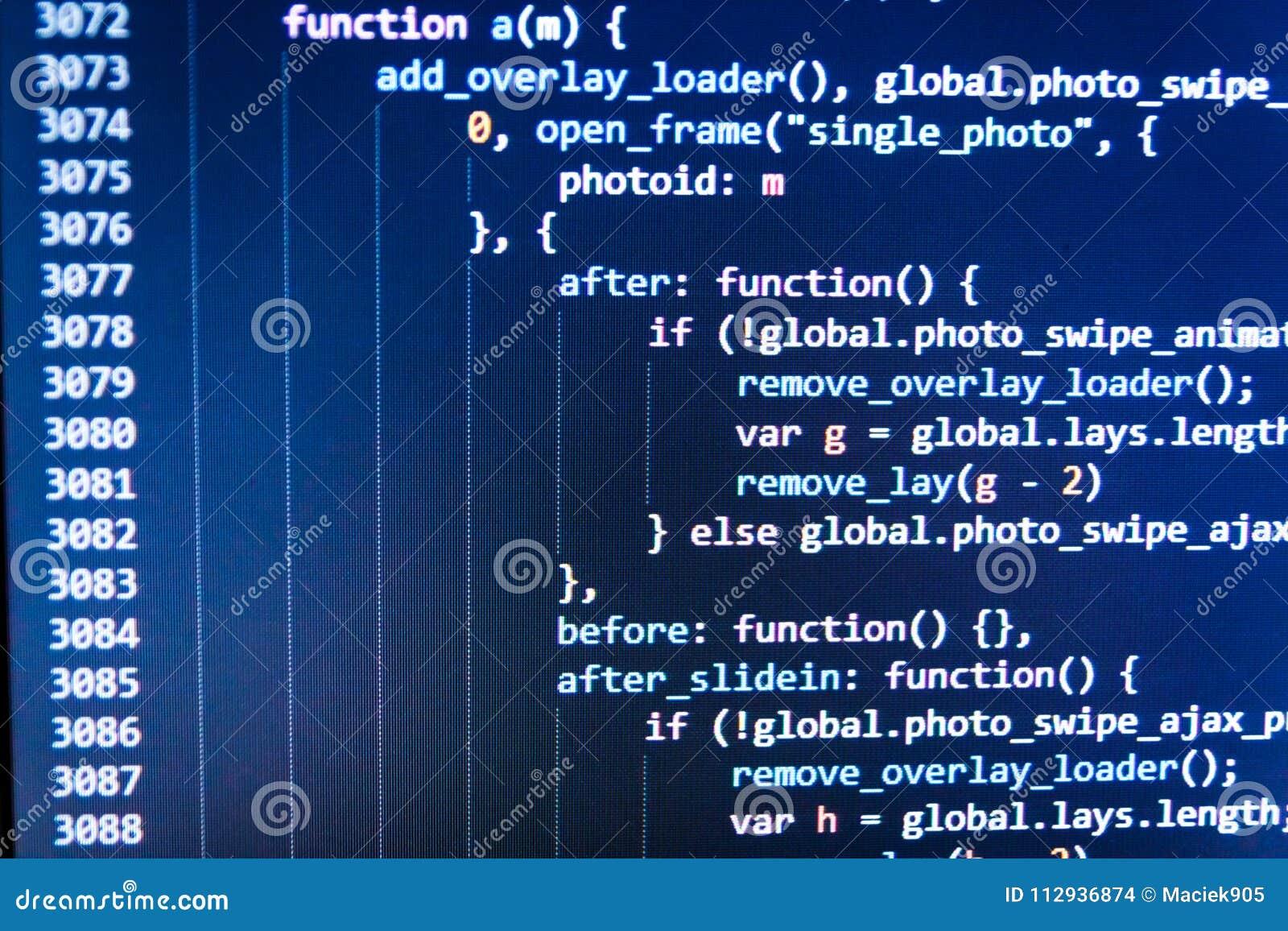 SEO Optimization  HTML Markup Language Closeup  JavaScript Code In
