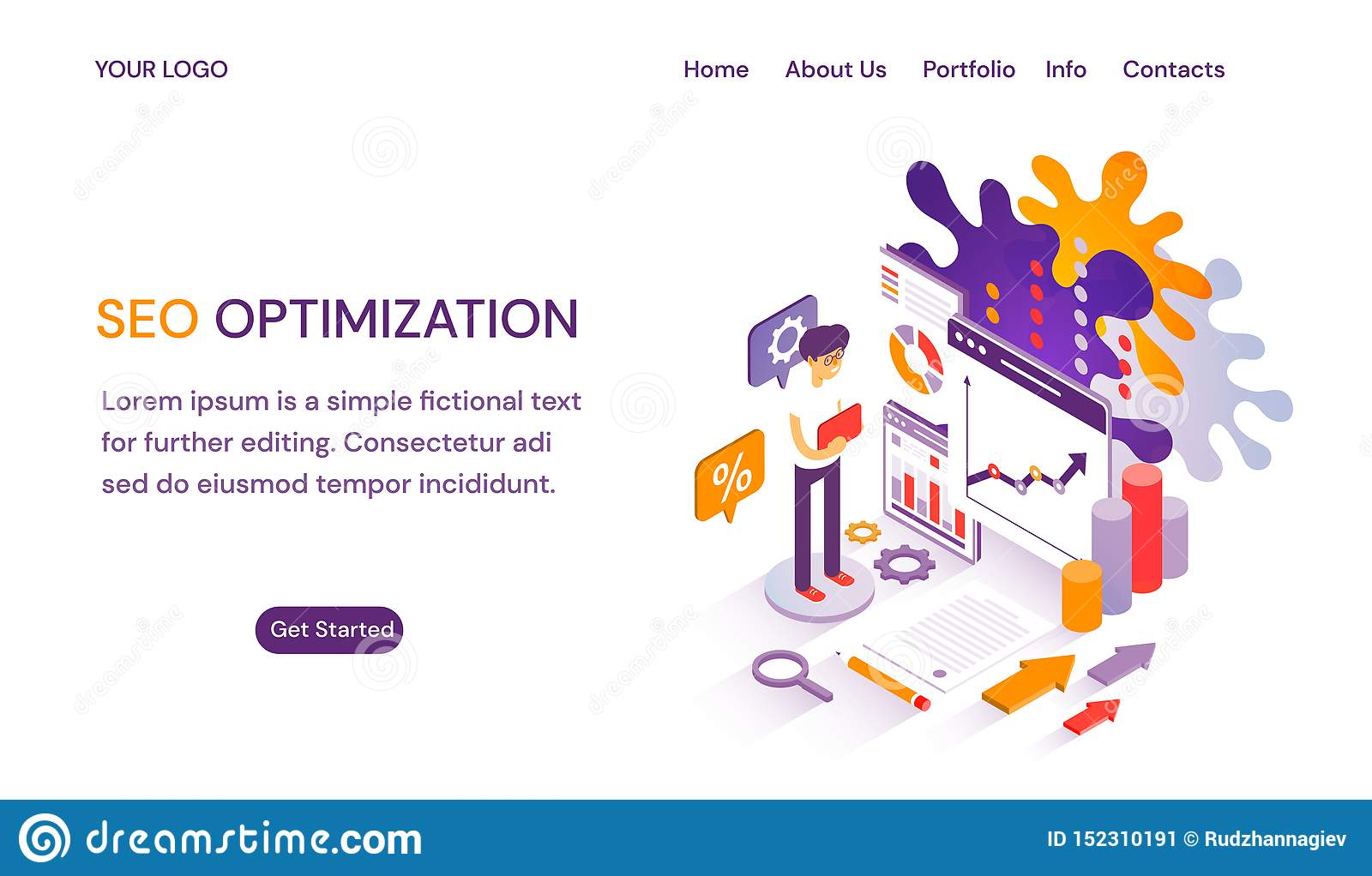 SEO Optimization Webpage Or Website Template With Header